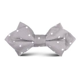 Grey with Milky White Polka Dots Kids Diamond Bow Tie
