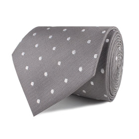 Grey with Milky White Polka Dots Necktie