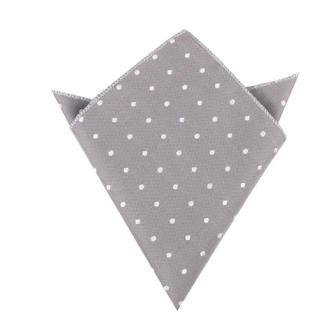 Grey with Milky White Polka Dots Pocket Square