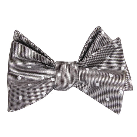 Grey with Milky White Polka Dots Self Tie Bow Tie