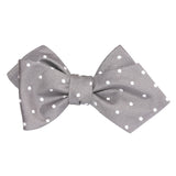 Grey with Milky White Polka Dots Self Tie Diamond Tip Bow Tie 2