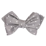 Grey with Milky White Polka Dots Self Tie Diamond Tip Bow Tie 1