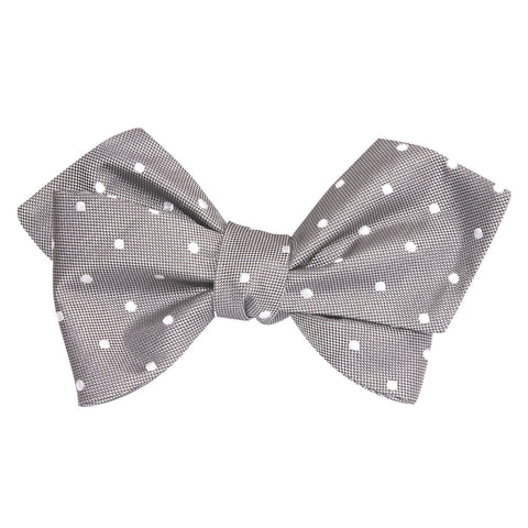 Grey with Milky White Polka Dots Self Tie Diamond Tip Bow Tie