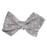 Grey with Milky White Polka Dots Self Tie Diamond Tip Bow Tie 3