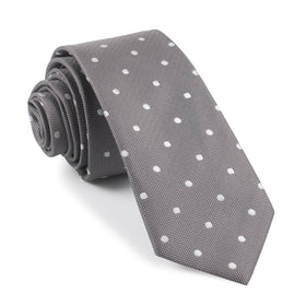Grey with Milky White Polka Dots Skinny Tie