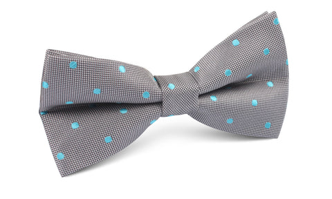 Grey with Mint Blue Polka Dots Bow Tie