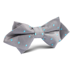 Grey with Mint Blue Polka Dots Diamond Bow Tie