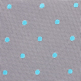 Grey with Mint Blue Polka Dots Fabric Self Tie Diamond Tip Bow Tie M115