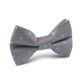 Grey with Mint Blue Polka Dots Kids Bow Tie