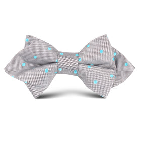 Grey with Mint Blue Polka Dots Kids Diamond Bow Tie
