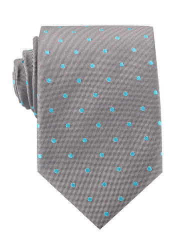 Grey with Mint Blue Polka Dots Necktie