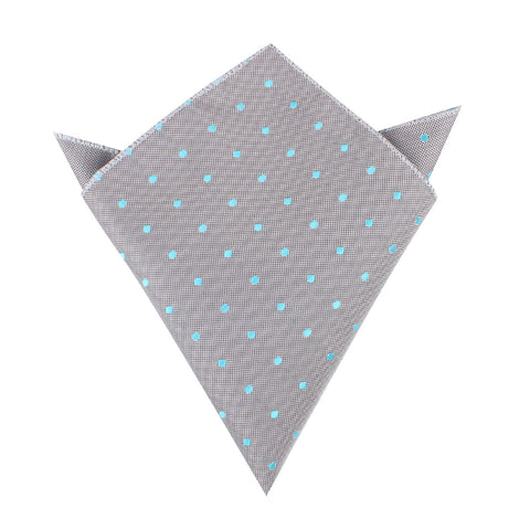 Grey with Mint Blue Polka Dots Pocket Square