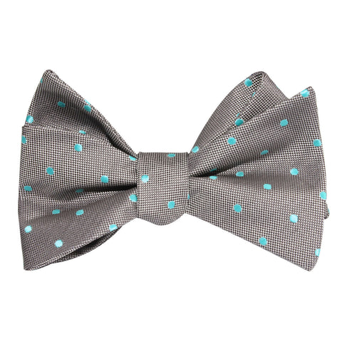 Grey with Mint Blue Polka Dots Self Tie Bow Tie