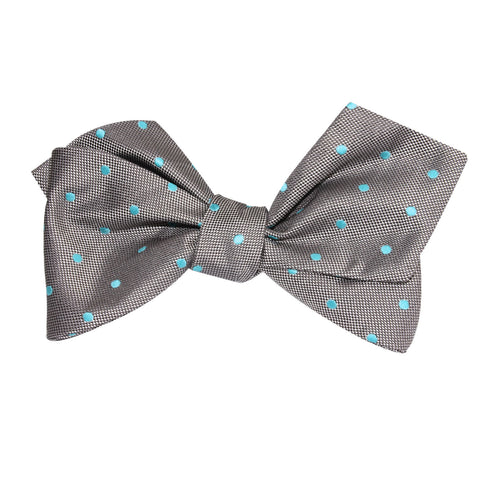 Grey with Mint Blue Polka Dots Self Tie Diamond Tip Bow Tie