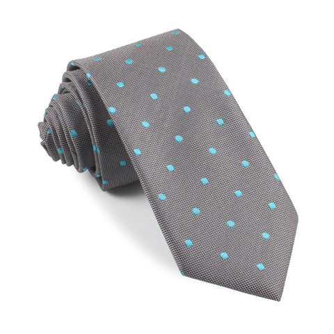 Grey with Mint Blue Polka Dots Skinny Tie