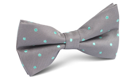 Grey with Mint Green Polka Dots Bow Tie