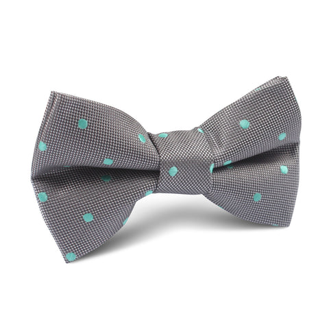 Grey with Mint Green Polka Dots Kids Bow Tie