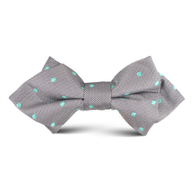 Grey with Mint Green Polka Dots Kids Diamond Bow Tie