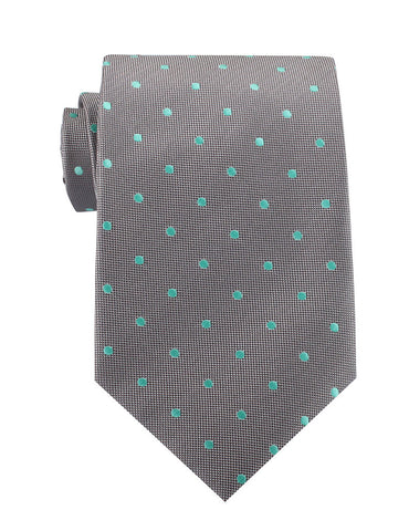 Grey with Mint Green Polka Dots Necktie