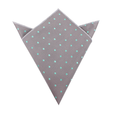 Grey with Mint Green Polka Dots Pocket Square