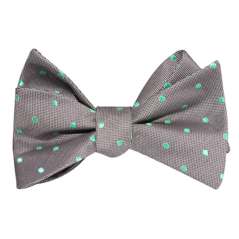Grey with Mint Green Polka Dots Self Tie Bow Tie
