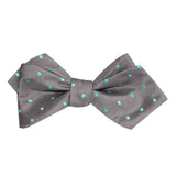 Grey with Mint Green Polka Dots Self Tie Diamond Tip Bow Tie 1