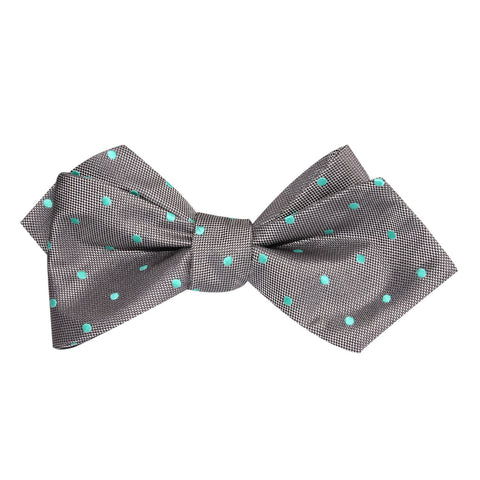 Grey with Mint Green Polka Dots Self Tie Diamond Tip Bow Tie