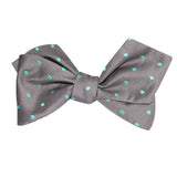 Grey with Mint Green Polka Dots Self Tie Diamond Tip Bow Tie 2