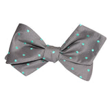 Grey with Mint Green Polka Dots Self Tie Diamond Tip Bow Tie 3