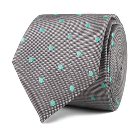 Grey with Mint Green Polka Dots Skinny Tie