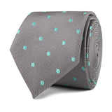 Grey with Mint Green Polka Dots Skinny Tie Front Roll