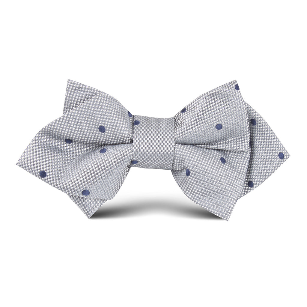Grey with Navy Blue Dot Kids Diamond Bow Tie