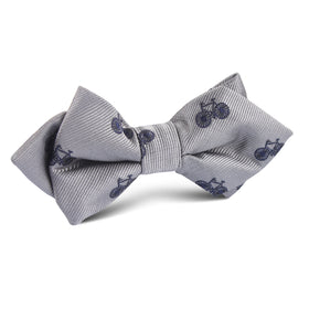 Grey with Navy Blue French Bicycle Diamond Bow Tie