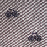 Grey with Navy Blue French Bicycle Fabric Pocket Square M097