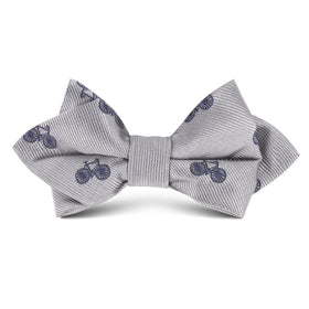 Grey with Navy Blue French Bicycle Kids Diamond Bow Tie