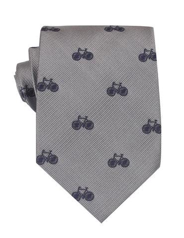 Grey with Navy Blue French Bicycle Necktie