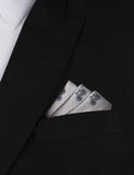 Grey with Navy Blue French Bicycle Oxygen Three Point Pocket Square Fold