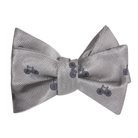 Grey with Navy Blue French Bicycle Self Tie Bow Tie