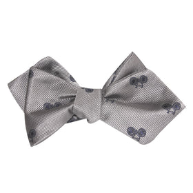 Grey with Navy Blue French Bicycle Self Tie Diamond Tip Bow Tie