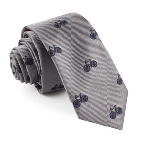 Grey with Navy Blue French Bicycle Skinny Tie