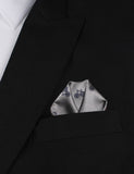 Grey with Navy Blue French Bicycle Pocket Square