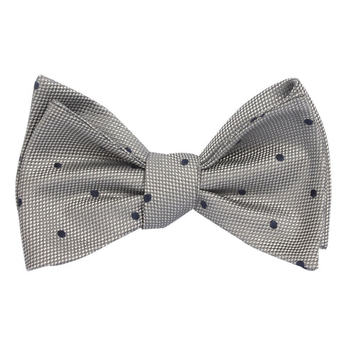 Grey with Navy Blue Polka Dots - Bow Tie (Untied)