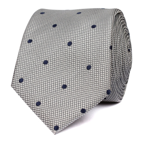 Grey with Navy Blue Polka Dots - Skinny Tie
