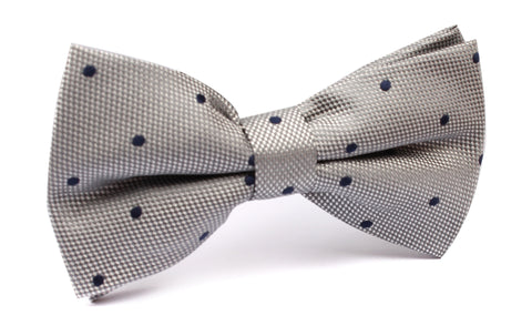 Grey with Navy Blue Polka Dots - Bow Tie