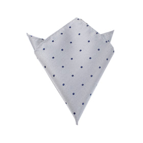 Grey with Navy Blue Polka Dots Pocket Square