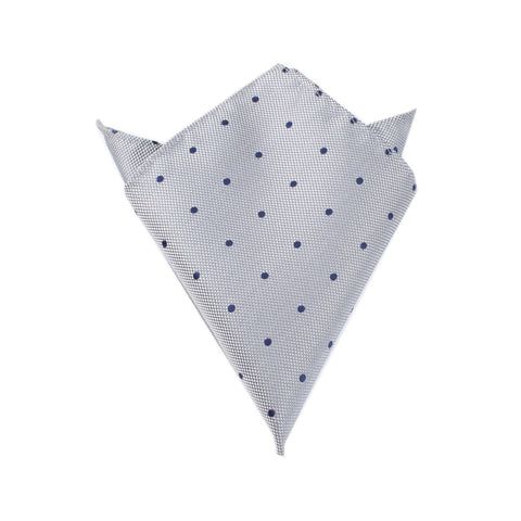 Grey with Navy Blue Polka Dots - Pocket Square