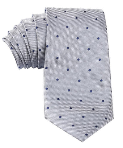 Grey with Navy Blue Polka Dots Tie