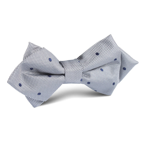 Grey with Navy Blue Polkadots Textured Diamond Bow Tie