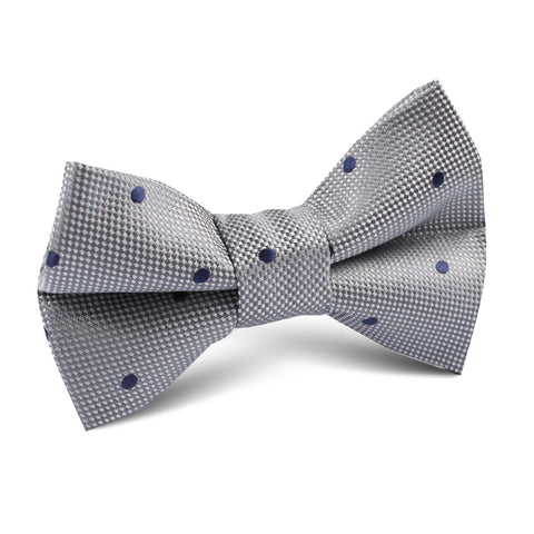 Grey with Navy Blue Polkadots Textured Kids Bow Tie