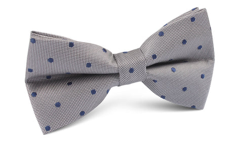Grey with Oxford Navy Blue Polka Dots Bow Tie
